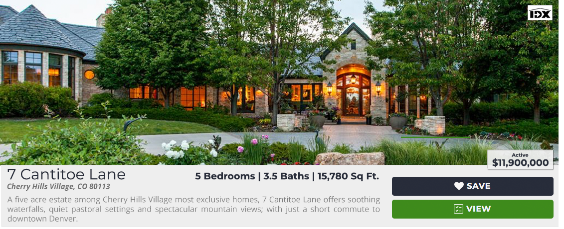 A five acre estate among Cherry Hills Village most exclusive homes